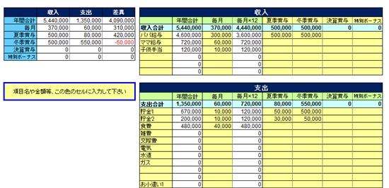 無料配信Excelテンプレート【年間家計管理 年間支出管理 家計簿】